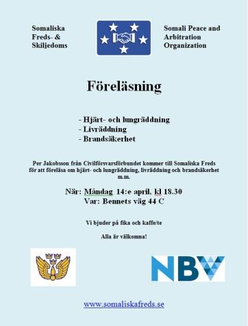 Föreläsning Somaliska Freds Malmö Civilförsvarsförening