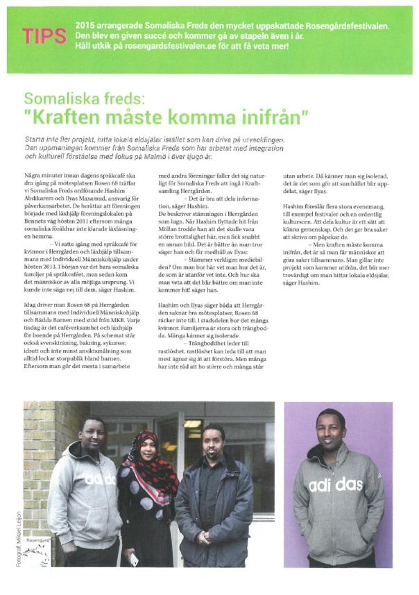 Kraftsamling Herrgårdens Nyhetsbrev - Somaliska Freds
